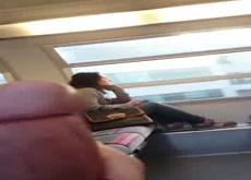 Cumshot for Girl on Train