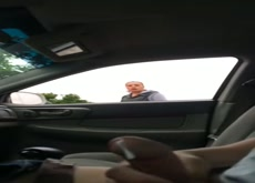 Cumshot in car dickflash asking for directions