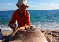 Beach massage nude wife