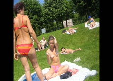 topless girl with mom at park