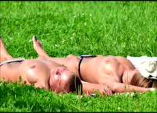 Spy on Russian Girls Sunbathing Topless in Public Park
