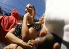 Outdoor dickflash at street festival