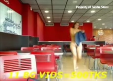 Flashing on Webcam in Fast Food Restaurant