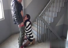 Fucked in a stairwell in public