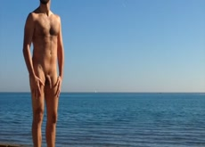 Wanking at public beach