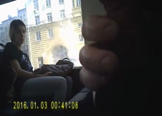 Bus Girl Gazes at cock til cum