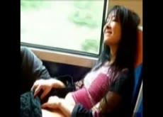 Asian masturbating on the train
