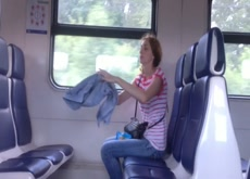 Jerking for Woman on Train