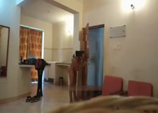 Indian lady showing her nude body to room service guy