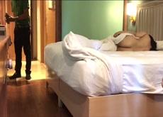 Indian lady flashing room service guy