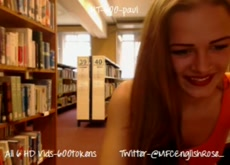 Camgirl flashing Body in Library
