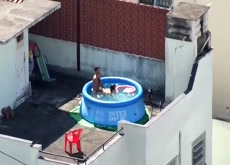 Plastic Pool Couple Go Inside To Finish
