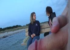 flashing 2 girls at beach bridge