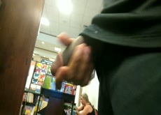 Playing with cock next to Latina mom in bookstore