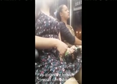 Girl Presses Bottle on Her Clit and Enjoys the Bus Vibrations