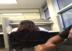 wank and cum in library