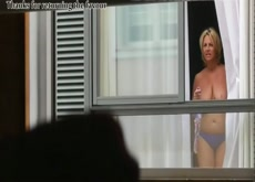 Hotel Flasher - One Guest Sees His Dick and Flashes Back