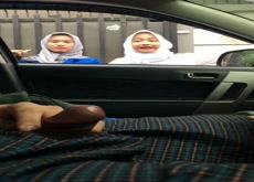 Flashing Two Moslem Girls