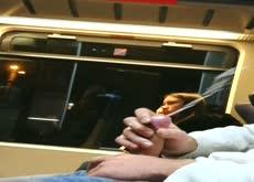 Cum near nice girl in train