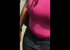 Busty ebony lets strange grope tits