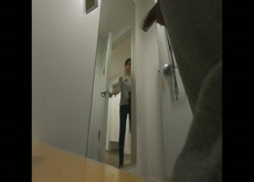 Caught changing in fitting room cock out 2 women look