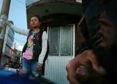 Flash girl on Street