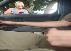 Car Flash Guy Plays with Girls Tits and Cums