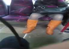 Hot milf legs in bus
