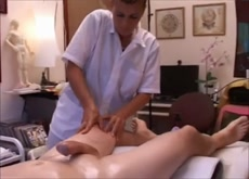 Real medical treatment with hidden handjob