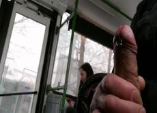 Flash Teen On Bus