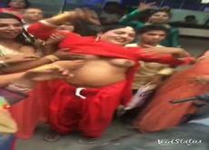 Flashing tits at Hindu festival