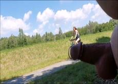 Outdoor Flash Teen on Bicycle