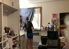 Hidden cam roommate undressing