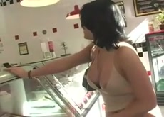 Girl flashes nipple in store