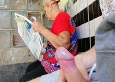 Flash Mature at Bus Stop