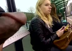 Bus Stop Dickflash for Hot Blonde Exhibitionist