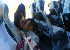 Flashing cock to cute thai girl on bus