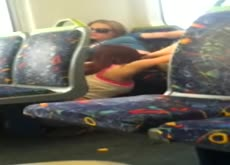 2 Girls Caught Eating Pussy on Public Bus