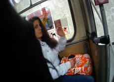Bulge Flash for Curious Girl on Bus