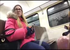 Huge Cumshot for Girl on the Subway