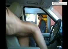 Sexy Webcam Girl Gets Naked in Car Drive Thru