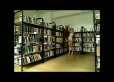 Sexy Blonde Flashes in Public Library