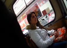 Setting a beauty in Bus bulge flash she laugh