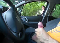 Public flash car watching milf1