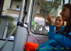 flashing on bus Teen girls